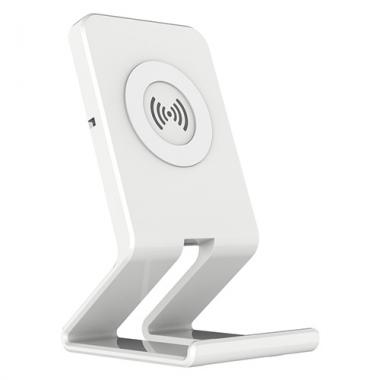Telefoonstandaard met draadloze QI oplader wit